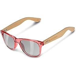 Navaris Gafas de sol UV400 - Gafas de madera para hombre y mujer - Gafas de sol con patillas de madera en diferentes colores - Rosa y gris