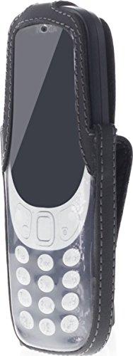 JT Berlin Turnline Schutzhülle für das Nokia 3310 (2017) - schwarz [Echtleder | 8-Stufen Gürtel-Drehclip | Handmade in Europe | Smarte Folie] - 12009