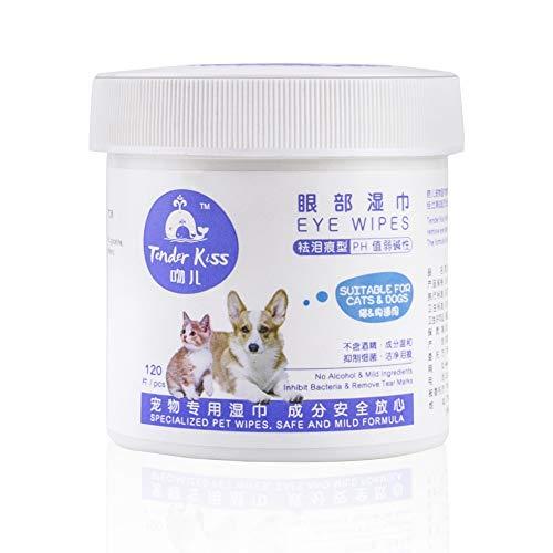 ANYOYO Pet Wipes für Hund Katze Welpen Auge Ohr Hygiene Reinigung Desodorierende Pflege Tücher Duftfrei (120 Counts)