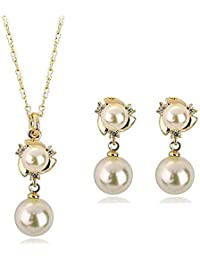 Silver Shoppee Pristine Pearl Cubic Zirconia And Pearl Studded 18K Yellow Gold Plated Alloy Pendant Set For Girls...