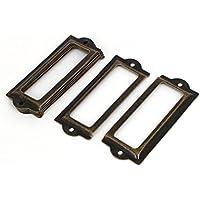 DealMux cajón de la caja de 85 mm x 33 mm Caso tarjeta de etiqueta portaetiquetas 8PCS tono marcos de bronce