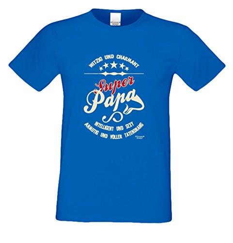 Geschenk-Set :: Super Papa Herren T-Shirt inkl. Urkunde : Geschenkidee als Geburtstagsgeschenk Weihnachtsgeschenk Vatertagsgeschenk Farbe: royal-blau Royal-Blau