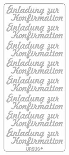 Ursus 59310083 - Kreativ Sticker, Einladung zur Konfirmation, 5 Blatt, silber