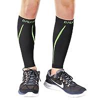 Baleaf Unisex Calf Compression Leg Sleeve Shin Support Calf Socks for Running, Cycling, Hiking, Shin Splints and Varicose Veins, Lined-Green, L(1 pair)