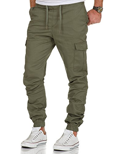 Amaci&Sons Herren Stretch Jogger Cargo Chino Jeans Hose 7006 Olive W31
