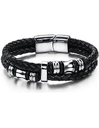 Jstyle Acier Inoxydable Bracelet Homme-Bracelet en Cuir-Chaîne de Main-Couleur Noir
