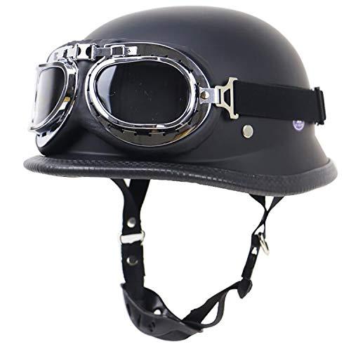 QHZ Erwachsene Harley Retro Helm Motorrad Mütze Jethelm Halbhelm DOT-zertifizierte Schutzbrille Militärstahl Halbschalenhelm Knight Chopper Fahrradroller Halbhelm,1,XXL - Mütze Motorrad Helme