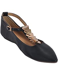 Show Stopper Black Coloured Synthetic Upper Slip On Shoes For Women