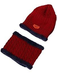 Tefamore Sombrero hombre + Bufanda 2pcs de Gorras de Punto de Suave Encantador Invierno de lana