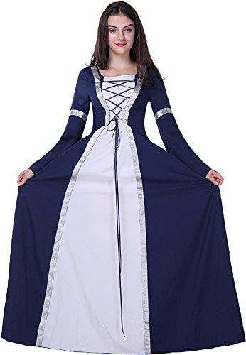 Ababalaya Damen Allerheiligen Halloween Kleidung Hexenkostüm Königin Cosplay Kostüm Kleid Übergröße,Marine (Erwachsenen Mittelalterliche Zauberin Kostüme)