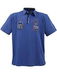 Lavecchia Australian Club Polo Tee Shirt - pour Homme - Grande Taille - Coton - Indigo-Bleu
