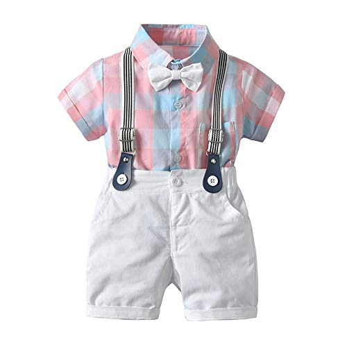 Kinder Mit Kostüm Für Hosenträger - Teansan Säugling Junge Kostüm Set, Kurzärmliges Karohemd mit Fliege Onesies + Hosenträger Shorts 0-30 Monate #104 (Color : Pink, Size : 18-24M)