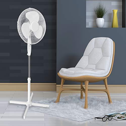 ECD Germany Standventilator mit Fernbedienung - 45W - Ø 43 cm - Weiß - mit 3 Laufgeschwindigkeiten und Schwenkfunktion - 105-120 cm - mit Standfuss - Zimmerventilator Ventilator Luftkühle Lüftung