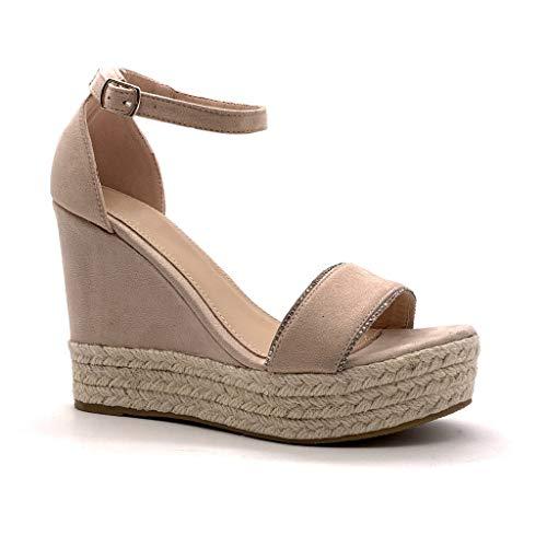 Angkorly - Damen Schuhe Sandalen Espadrilles - knöchelriemen - Bequeme - Plateauschuhe - mit Stroh - String Tanga - Schleife Keilabsatz high Heel 12 cm - Rosa 88-289 T 38 -