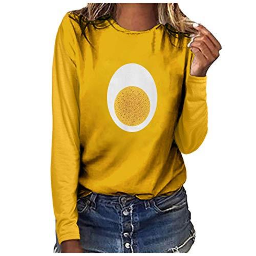 Xmiral Bluse Damen Omelett Drucken Lustig Lange Ärmel Rundhals T-Shirt Tops Mode Übergröße Atmungsaktiv Pullover Sweatshirts(x Gelb,XXL)