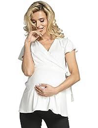 HAPPY MAMA Mujer Camiseta premamá y de Lactancia Envolver El Frente. 622p