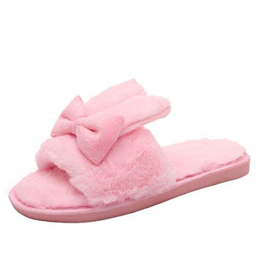 Damen Plüsch Hausschuhe, FNKDOR Weiche Wärme Bequem Kunstpelz Flache Pantoletten Flauschige Schuhe (39, Pink)