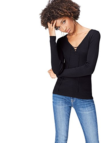 find. Pull Col V à Lacets Femme, Noir (Black), 38 (Taille Fabricant: Small)