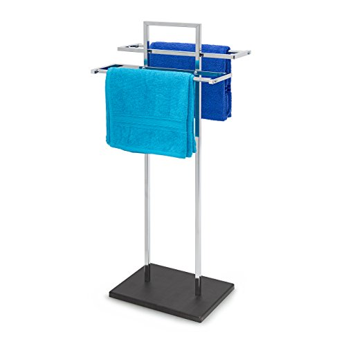 Relaxdays Handtuchständer HBT: ca. 87 x 37,5 x 24 cm freistehender Handtuchhalter in Edelstahl-Optik und Holz Bodenplatte mit 2 Handtuchstangen für Badetücher auch als Kleiderständer, schwarz / silber