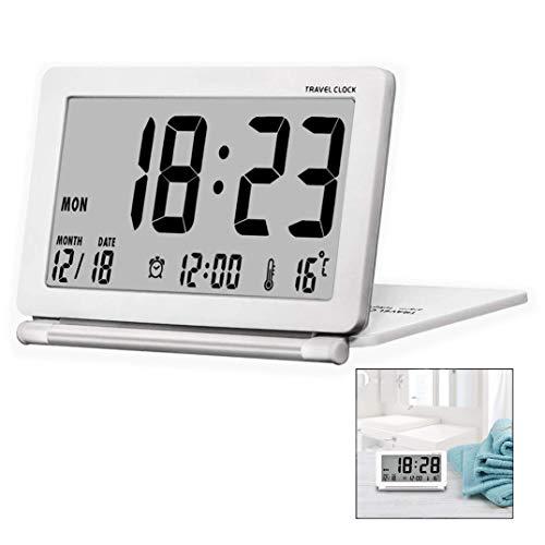 Iwobi Despertador de Viaje, Diseño Moderno Plegable, Escritorio portátil Pantalla LCD...