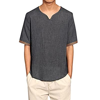 Keepwin Mens Traditional Leinen Solid T Shirts Casual Kurzarm V-Ausschnitt Lose Bluse Tops