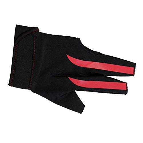 Sharplace Billardhandschuh 3-Finger-Handschuhe Billard Snooker Queue Handschuh - Rot Schwarz