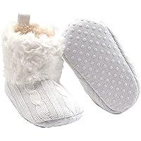 FENICAL Botas Antideslizantes de Suela Blanda para bebés Calzado de Cuna de Punto de Invierno Botas para niños pequeños Prewalker para bebés 0-6 Meses (Blanco)