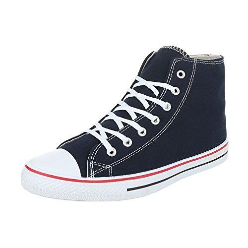 Sneakers für Damen und Herren Unisex Turnschuhe Schnürsenkel Ital-Design Dunkelblau SW15588