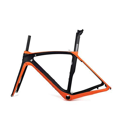 YAMEIJIA Vollcarbon Rennrad Rahmen 700C Carbon Rennrad Rahmenset UD Matte Rennrad Rahmen mit BB386 Kopfhörern,53