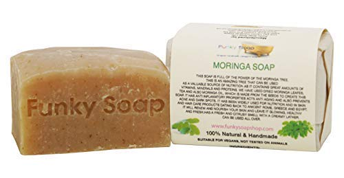 Funky Soap Afrikanische Moringa Seife 100% Natürlich Handgemacht, 1 bar Of 120g -