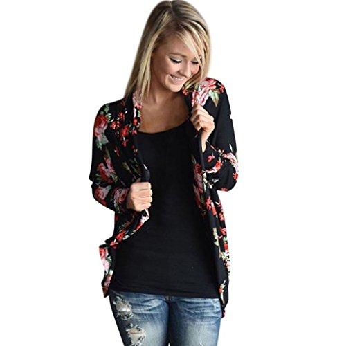 Loveso-Damen Outwear Frauen Mode Multicolor Blumen Langarm Strickjacken beiläufige Unregelmäßige Outwear Mantel Tops (36, Schwarz)