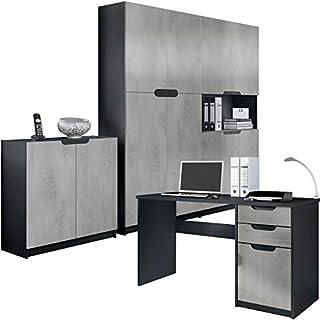 Vladon Büromöbel Arbeitszimmer komplett Set Logan, Korpus in Schwarz matt/Fronten in Beton Oxid Optik