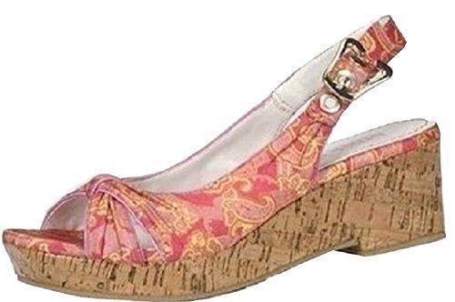 Sandalette Korkoptik von Blink aus Satin rötlich Rot