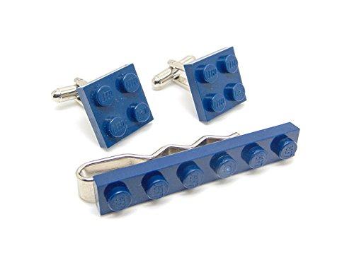 Bleu foncé authentique Lego plaque Pince à cravate et boutons de manchette - Funky rétro Cool Boutons de manchette fabriqué par Jeff Jeffers