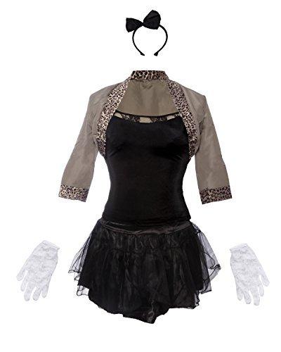 80er Pop Star Schickes Kleid Kostüm - Beinhaltet Jackett, schwarzes Top, schwarzen Rock, Haarband und Handschuhe - Madonna Kostüm oder 80er Frauen Kostüm für Halloween und Retro Events - EU Größen 42 (Frauen Halloween-kostüme Schwarze)