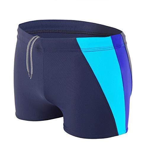 Aquarti Bañador Deportivo para Hombre Tipo Boxer, Color: Azul Oscuro/Azul/Turquesa, Größe: L Cintura...