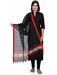 The Weave Traveller Handloom Hand Woven 2.5 Meters Silk Cotton Black Dupattas Embellished With Sequins And Zari...