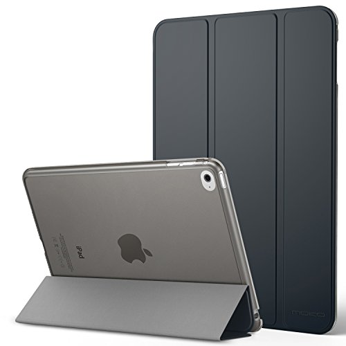 MoKo Schutzhülle für Apple iPad Mini 4 - Klappetui mit ultradünner und leichter Halterung mit halbtransparenter Rückseite für iPad Mini 4 20,1cm (7,9 Zoll), Grau (mit automatischer Standby-Funktion)