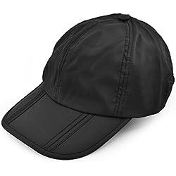 DSstyles UV 50+ Protección Splash Impermeable Secado rápido Cap Sun Brim plegable plegable Deportes al aire libre Sombrero Plegable Gorras de béisbol portátiles para hombres y mujeres (Negro)
