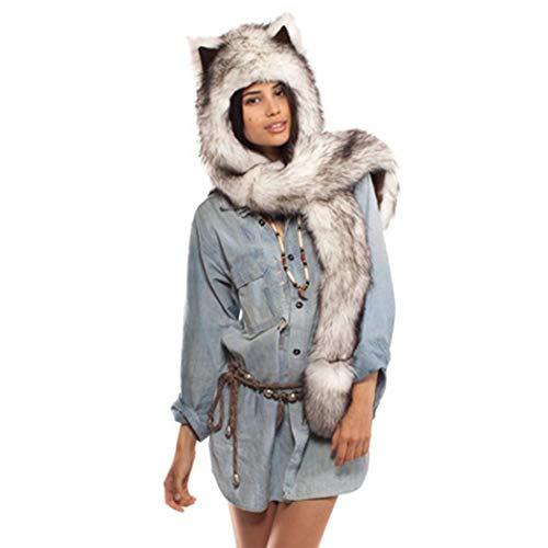 Winter Warm Kapuzenschal Handschuhe Plüsch Tiere Bär Panda Wolf Paws Ohren Fellmütze 3 - in - 1 Die Funktion Thanksgiving Weihnachten Geschenk ()