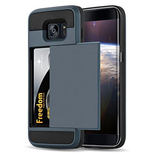 Cadorabo - Custodia Ibrido 'Cassaforte' per Samsung Galaxy S7 EDGE de silicone TPU e plastica rigida en disegno Outdoor Heavy Duty con nascoste Vani di Carte - Case Cover Involucro Bumper in CASSAFORTE-AZZURO