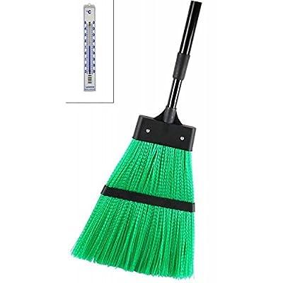 Outdoor Besen mit Kunststoff Borsten grün und Metall Teleskopstiel schwarz und Analog Thermometer weiß . Für Strasse , Garten und Laub