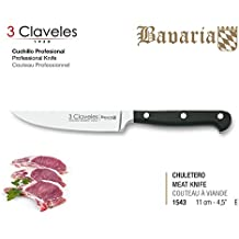 3 Claveles Cuchillo Forjado gama Bavaria (11 cm 4.5'', Chuletero)