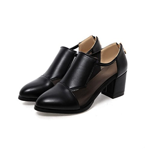 VogueZone009 Femme Zip Pointu à Talon Correct Pu Cuir Couleur Unie Chaussures Légeres Noir