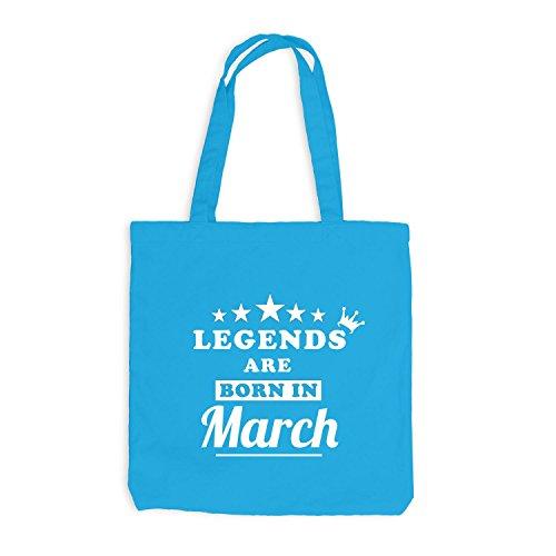 Jutebeutel - Legends are born in March - Birthday Gift Surfblau