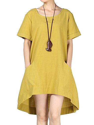 Vogstyle Damen T-Shirt Rundhals Kurzarm Irregulär Kleid Gelb