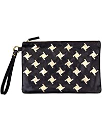 3d81d305f55e8 Goldmarie Clutch Tasche Leder Muster Handtasche mit Henkel Ledertasche mit  Reißverschluss schwarz gold