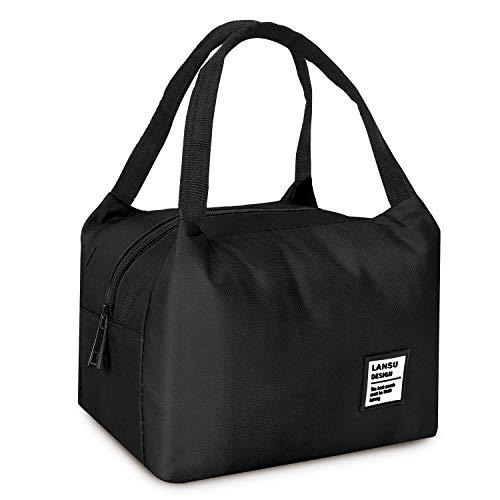 Yokamira borsa termica borsetta porta pranzo, riutilizzabile manutenzione di freddo e caldo pranzo borse per scuola e ufficio, nero