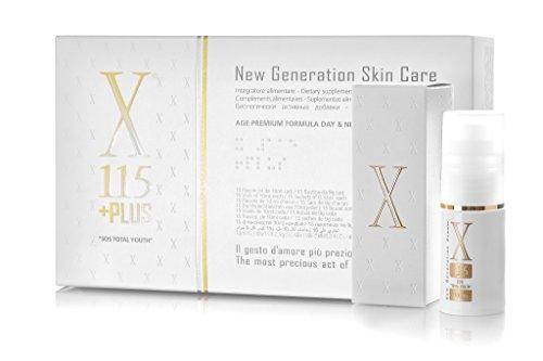 X115®+Plus - Anti-Aging Haut Ergänzung - 5g Fisch Kollagen, Hyaluronsäure, Vitamin C, D, E, Resveratrol, Liponsäure, Sonnenhüte, Centella, Coenzym Q10 + ANTI-AGE ANTI-FALTEN Creme FRAU X115® New Generation Woman 15ml ** Komplette Anti-Falten FRAU Behandlung