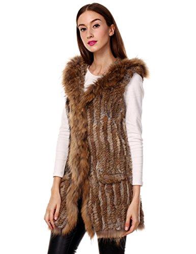 Ferand - Gilet Giacca Lunga Con Cappuccio Elegante In Vera Pelliccia di Coniglio con Collare In Pelliccia di Procione per Inverno - Donna Naturale